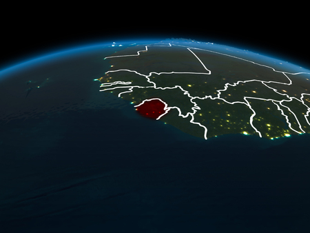 Space orbit view of Sierra Leone highlighted in red on planet Earth at night with visible country borders and city lights. 3D illustration.