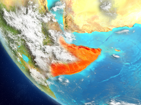 Somalia from orbit of planet Earth with highly detailed surface textures. 3D illustration. Banque d'images