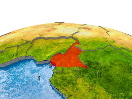 Cameroon highlighted in red on globe with realistic land surface, visible country borders and water in place of oceans. 3D illustration.