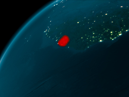 Night map of Sierra Leone as seen from space on planet Earth. 3D illustration.