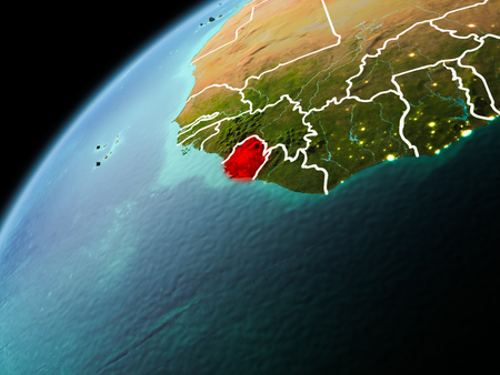 Illustration of Sierra Leone as seen from Earth's orbit in late evening with visible border lines and city lights. 3D illustration. Stock Photo