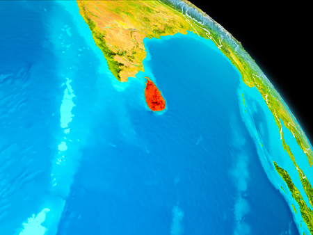 Space orbit view of Sri Lanka highlighted in red on planet Earth with visible borders. 3D illustration.