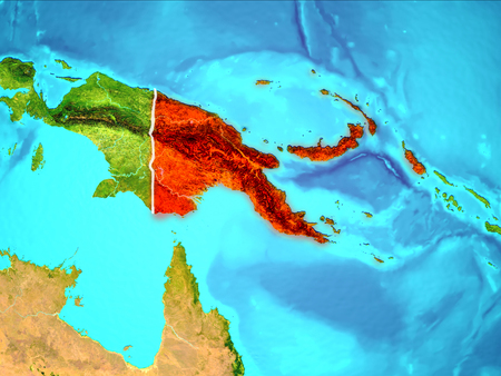Papua New Guinea highlighted in red from Earth's orbit. 3D illustration.