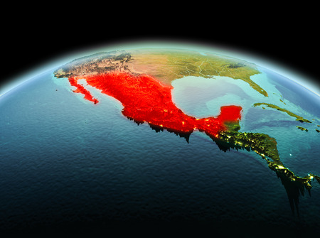 Morning above Mexico highlighted in red on model of planet Earth in space. 3D illustration. Stok Fotoğraf