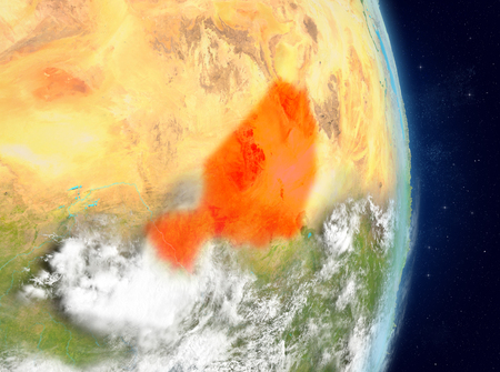 Space view of Niger highlighted in red on planet Earth with atmosphere. 3D illustration.