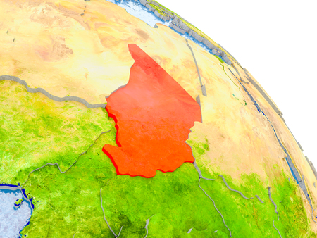 Illustration of Chad highlighted in red on glob with realistic surface with visible country borders, and water in the oceans. 3D illustration. Stock Photo