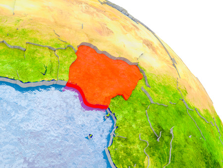 Illustration of Nigeria highlighted in red on glob with realistic surface with visible country borders, and water in the oceans. 3D illustration. Stock Photo