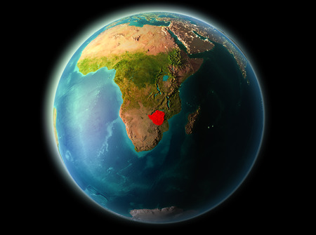Zimbabwe from orbit of planet Earth at night with highly detailed surface textures. 3D illustration. Stock Photo