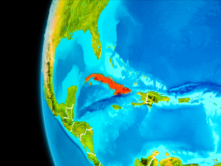 Cuba as seen from Earth's orbit on planet Earth highlighted in red with visible borders. 3D illustration. 写真素材
