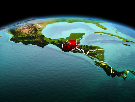 Morning above Guatemala highlighted in red on model of planet Earth in space with visible border lines and city lights. 3D illustration. Фото со стока