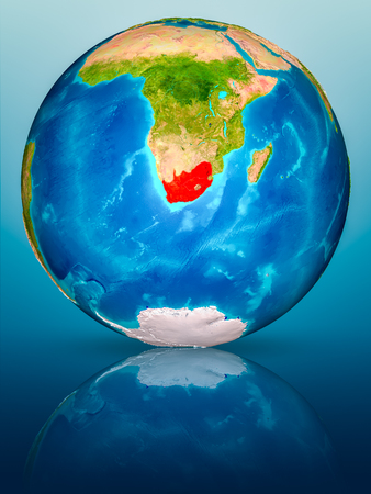South Africa in red on model of planet Earth on reflective blue surface. 3D illustration. Stock fotó