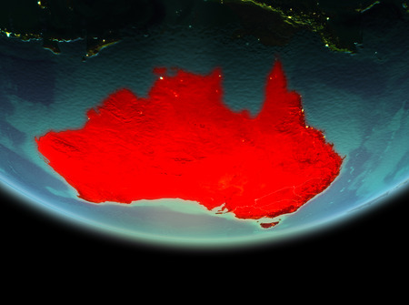 Australia from orbit of planet Earth at night with highly detailed surface textures. 3D illustration.