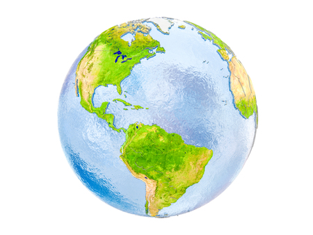 Caribbean highlighted in red on model of Earth. 3D illustration isolated on white background. Stock Photo