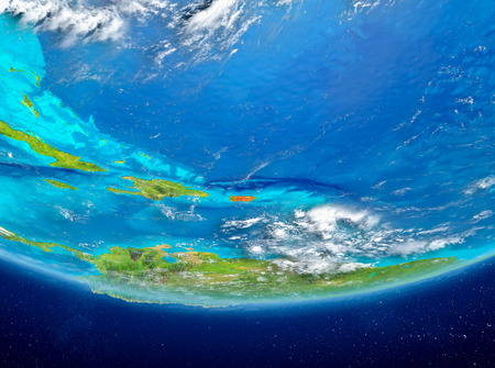 Puerto Rico highlighted in red on planet Earth with clouds. 3D illustration.
