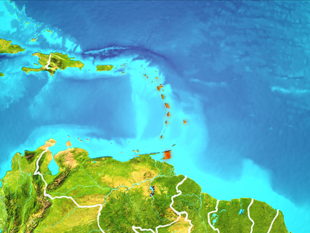 Caribbean highlighted in red from Earth's orbit. 3D illustration. Stock Illustration - 103265936
