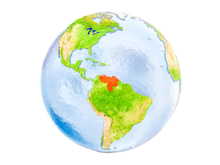Venezuela highlighted in red on model of Earth. 3D illustration isolated on white background.
