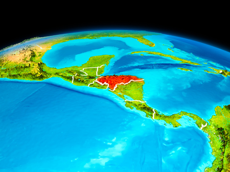 Satellite view of Honduras highlighted in red on planet Earth with borderlines. 3D illustration. Фото со стока