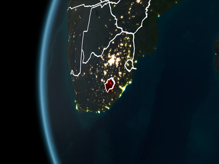 Orbit view of Lesotho highlighted in red with visible borderlines and city lights on planet Earth at night. 3D illustration.