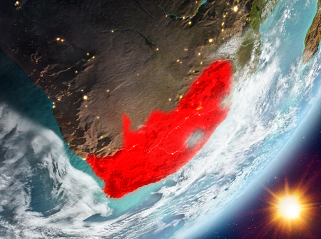 South Africa from orbit of planet Earth in sunrise with highly detailed surface textures and clouds. 3D illustration. Stock Photo