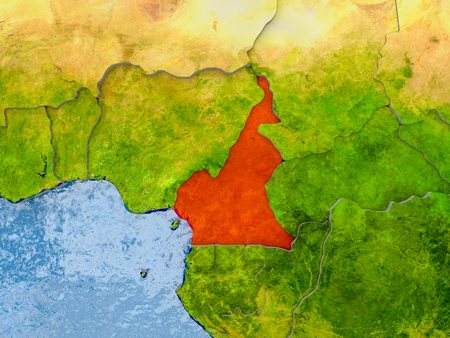 Cameroon in red on realistic map with embossed countries. 3D illustration. Stock Photo