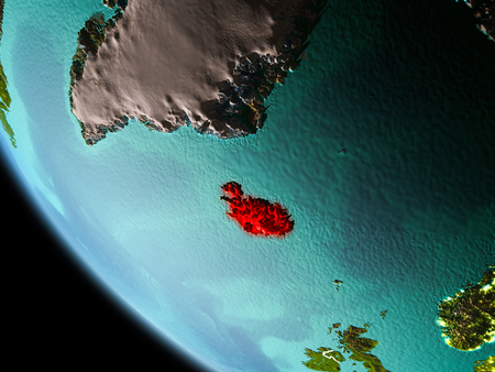 Iceland from orbit of planet Earth at night with highly detailed surface textures with visible border lines and city lights. 3D illustration. Stock Photo