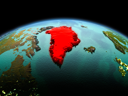 Morning above Greenland highlighted in red on model of planet Earth in space with visible border lines and city lights. 3D illustration.
