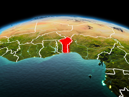 Morning above Benin highlighted in red on model of planet Earth in space with visible border lines and city lights. 3D illustration.