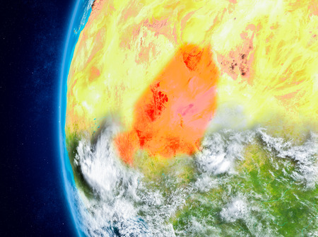 Map of Niger as seen from space on planet Earth with clouds and atmosphere. 3D illustration.