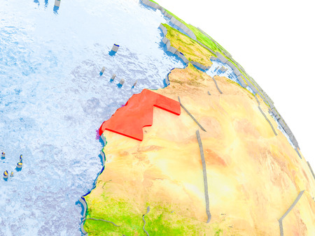 Illustration of Western Sahara highlighted in red on glob with realistic surface with visible country borders, and water in the oceans. 3D illustration. Stock Photo