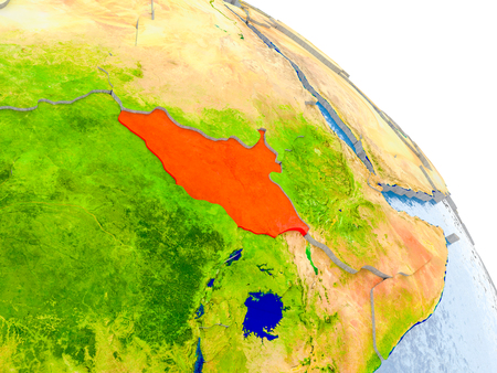Illustration of South Sudan highlighted in red on glob with realistic surface with visible country borders, and water in the oceans. 3D illustration. Stock Photo
