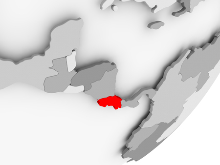 Illustration of Costa Rica highlighted in red on grey globe. 3D illustration.
