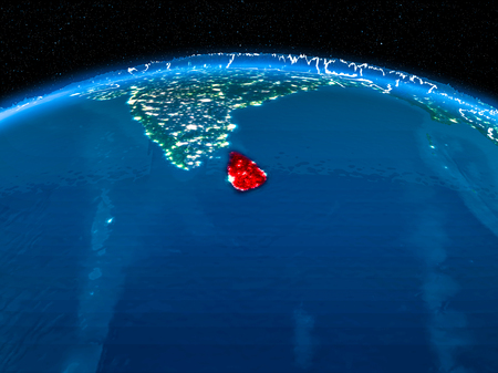 Orbit view of Sri Lanka highlighted in red with visible borderlines and city lights on planet Earth at night. 3D illustration.