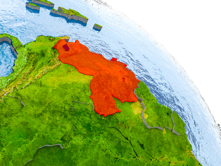 Illustration of Venezuela highlighted in red on glob with realistic surface with visible country borders, and water in the oceans. 3D illustration.