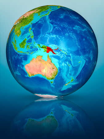 Papua New Guinea in red on model of planet Earth on reflective blue surface. 3D illustration.