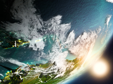 Caribbean from space with highly detailed surface textures and visible country borders. 3D illustration.