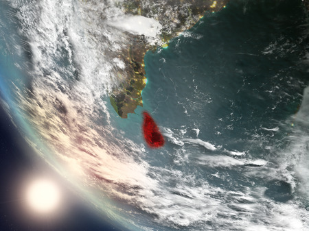 Illustration of Sri Lanka as seen from Earth's orbit during sunset with visible country borders. 3D illustration.