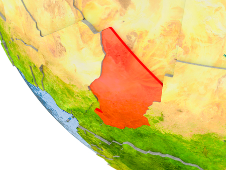 Map of Chad in red on globe with real planet surface, embossed countries with visible country borders and water in the oceans. 3D illustration. Stock Photo
