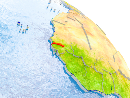 Illustration of Gambia highlighted in red on glob with realistic surface with visible country borders, and water in the oceans. 3D illustration.