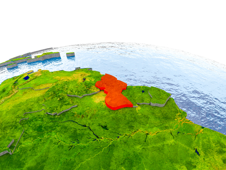 Guyana highlighted in red on globe with realistic land surface, visible country borders and water in place of oceans. 3D illustration.