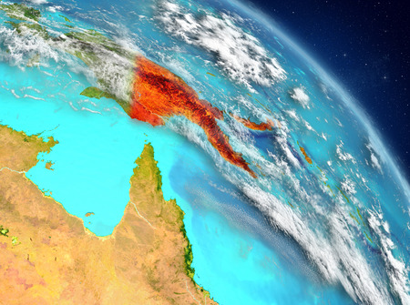 Illustration of Papua New Guinea as seen from Earth's orbit. 3D illustration. Stock Photo