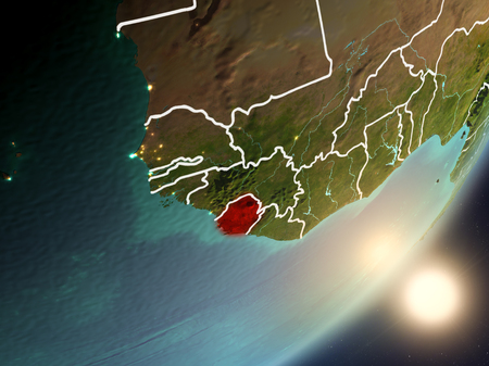 Sierra Leone from space with highly detailed surface textures and visible country borders. 3D illustration.