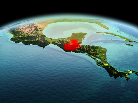Morning above Guatemala highlighted in red on model of planet Earth in space. 3D illustration.