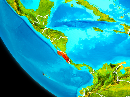 Costa Rica highlighted in red on planet Earth with visible borders. 3D illustration.