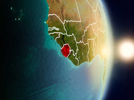 Sierra Leone during sunrise highlighted in red on planet Earth with visible country borders. 3D illustration.