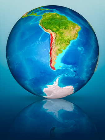 Chile in red on model of planet Earth on reflective blue surface. 3D illustration. Stock fotó