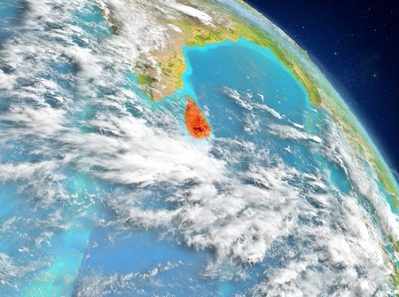 Illustration of Sri Lanka as seen from Earth's orbit. 3D illustration. Stock Photo