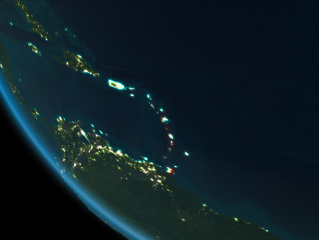 Caribbean from orbit of planet Earth at night with highly detailed surface textures. 3D illustration.