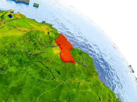 Illustration of Guyana highlighted in red on glob with realistic surface with visible country borders, and water in the oceans. 3D illustration. Stock Photo