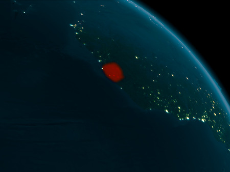Orbit view of Sierra Leone at night highlighted in red on planet Earth with highly detailed surface textures. 3D illustration. Stock Photo