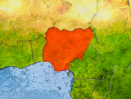 Nigeria in red on realistic map with embossed countries. 3D illustration. Stock Photo